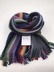 Paul Smith Men Scarf Multi Orion Stripe 100% Wool Made In Germany Blue