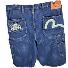 Evisu Vintage Blue Denim Jean Carpenter Shorts Men Size 38 Made In Hong Kong