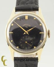 14k Yellow Gold Lord Elgin Vintage Hand-Winding Watch Black Dial 1953