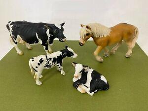 Schleich - Farm Animals Lot #1 - Horse, Cow & Calves - Toy Figure / Figurine