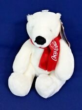"Coca Cola Polar Bear w Scarf 9"" Collectible Plush Boyds Bear New w Tags"