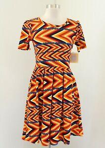 NWT Lularoe Amelia Dress Size S Yellow Red Orange Chevron Striped Geometric