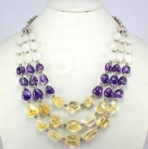 Natural Amethyst Citrine Rainbow Moonstone Necklace Gemstone Beaded Jewellery