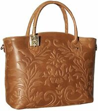 Light Brown NWT Genuine Italian Leather Handbag Tote Embossed 1411 Shoulder bag