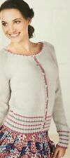KNITTING PATTERN Ladies Classic Ribbed Striped Cardigan Long Sleeve Debbie Bliss