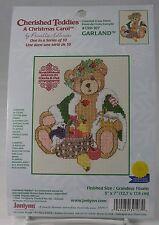 """Cherished Teddies Cross Stitch GARLAND A Christmas Carol 5 x 7"""" Hillman Janlynn"""