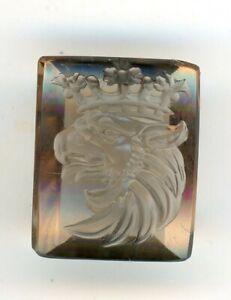Art Deco Smoky Quartz Intaglio Signet Seal