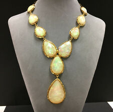 Rare AMRITA SINGH Iridescent Faux Opal Jeweled Statement Necklace Gold cc55e