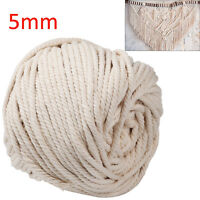 5mm Natural Beige Cotton Twisted Cord Rope Artisan Macrame String DIY Crafts 65m