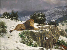 PAINTING VERSTAGH LION IN SNOW LARGE POSTER WALL ART PRINT LF3049