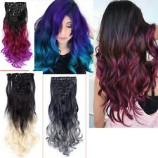 7Pcs/Pack 22'' Clip in Synthetic Ombre Curly Wave Hair Extension Hair Hairpiece