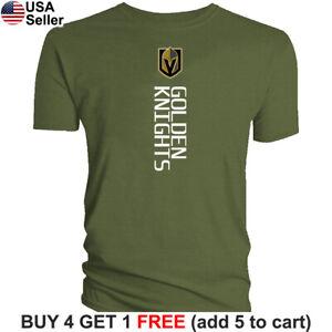 Las Vegas Golden Knights T-Shirt Logo Men Cotton Blend LVGK VGK Vertical