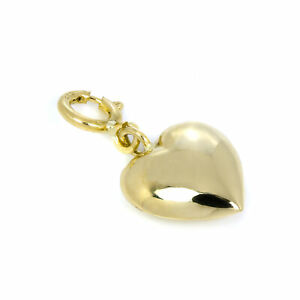9ct Gold Puffed Heart Clip on Charm Hearts Love Charms