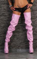 Overkneestiefel Damenstiefel Boots neu Crotch Plateau Lackstiefel 913758369 rosa