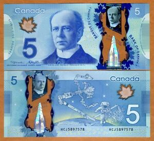 Bank of Canada, $5, 2013, Polymer, P-106b, UNC > Space Exploration