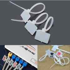 100pcs White nylon ZIP cable tie Label Strap strip with marking día 3x100mm