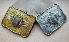 Handmade Oxidized Silver Or Oxidized Brass Steampunk Scarab Belt Buckle