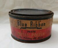 Vintage Advertising Blue Ribbon Paste Metal Polish  EMPTY CAN Prop paper label