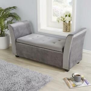 Verona Grey Velvet Fabric Ottoman Window Storage Seat Bedding Blanket Box Hinged