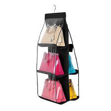 6 Pockets Hanging Storage Bag Purse Handbag Tote Bag Storage Organizer Hangers