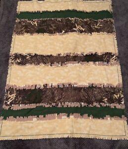 HANDMADE Flannel RAG QUILT/blanket, 42 X 54, camouflage, green, tan strips.