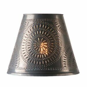 14-Inch Fireside Lamp Shade with Chisel in Kettle Black Tin