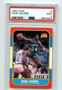 1986 Fleer Mark Aguirre Rookie PSA 9 Dallas Mavericks #3 RC MINT