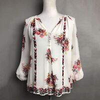 Joie Silk Top Gloria Ivory Red Floral Sheer 3/4 Sleeve Blouse Size XS
