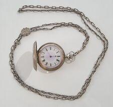 Waltham 6 size 7 jewel Fancy Dial Sterling Silver Pocket Watch 1897 w/ Slide Fob