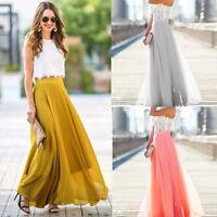 Fashion Womens Chiffon Stretch High Waist Flared Pleated Casual Long Maxi Skirt