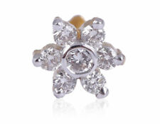 0.20 Cts Round Brilliant Cut Natural Diamonds Floral Nose Stud In Solid 18K Gold