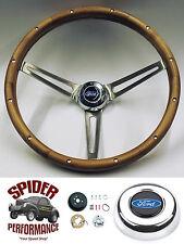 """1965-1966 Ford pickup steering wheel BLUE OVAL 15"""" MUSCLE CAR WALNUT wheel"""