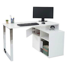 Eckschreibtisch MCW-A72, Bürotisch Computertisch, hochglanz 120x80cm weiß