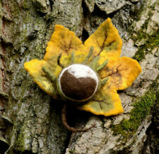 Large autumn brooch with yellow leaf & felted chestnut, buckeye jewelry for fall