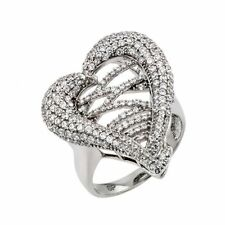 925 Sterling Silver ladies heart Micro Pave Ring W/ diamonds//NEW DESIGN! SZ 5-9