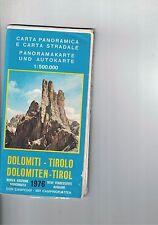 DOLOMITI-TIROLO - CARTA PANORAMICA E STRADALE - 1976 - 1:500.000