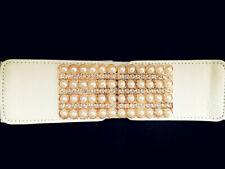 Lady Wide Fashion Gold Pearl Belt Womens Black Cinch Waist Belts Elastic Stretch