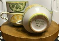 Coffee Mugs Cups Deruta Italy Hand Painted Italian Pottery Lemon Lime Set of 4