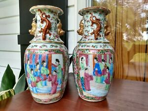 pair 2 antique chinese porcelain vases rose medallion famille rose urn c.1890