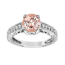 Morganite Engagement Ring With Diamonds 14K White Gold 1.50 Carat Handmade