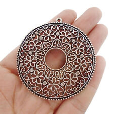 2 x Tibetan Silver Large Open Filigree Flower Round Charms Pendants 57x57mm