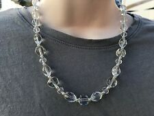 Clear Multi Shapes Chunky Glass Beads Handmade Necklace with Silver Tone Metal
