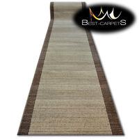 Modern Hall Carpet Runner BCF BASE beige STRIPES Stairs 60-120cm extra long RUGS