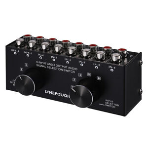 6(2)-IN-2(6)-OUT Stereo RCA/3.5mm Switcher Box Audio Selector Passive Preamp