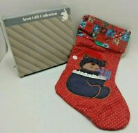 Vintage Denim Bear Christmas Stocking from the Avon Gift Collection - Open Box