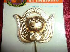 "Vintage Gold tone Angel Plastic Miniature Pick  1 3/4 x 2"""