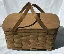 Vintage Wicker Picnic Basket Hinged Lid Basketville Putney Vermont