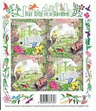 SINGAPORE 2013 OUR CITY IN GARDEN SELF ADHESIVE SHEET OF 4 STAMPS WITH SEED MINT