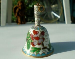 Small Vintage Cloisonne Enamel Bell Chinese Butterfly Floral Pattern 1970s