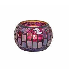 Deko Windlicht Teelichthalter aus Glas Mosaik lila 9x6 cm